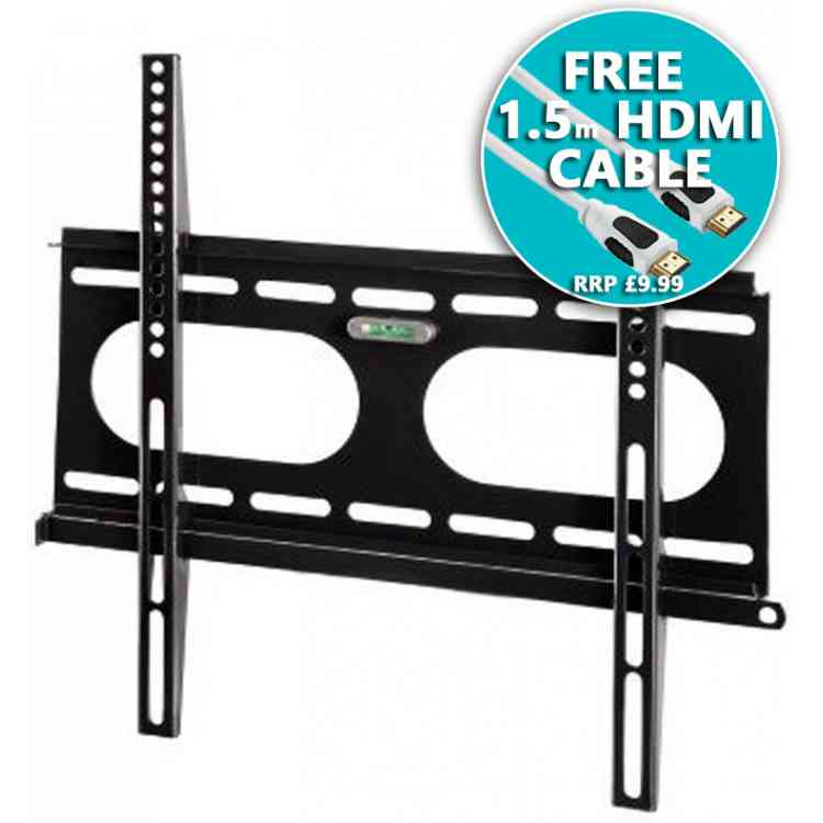 "Hama Ultraslim TV Wall Bracket 23"" - 55\"" - Black with Cable"