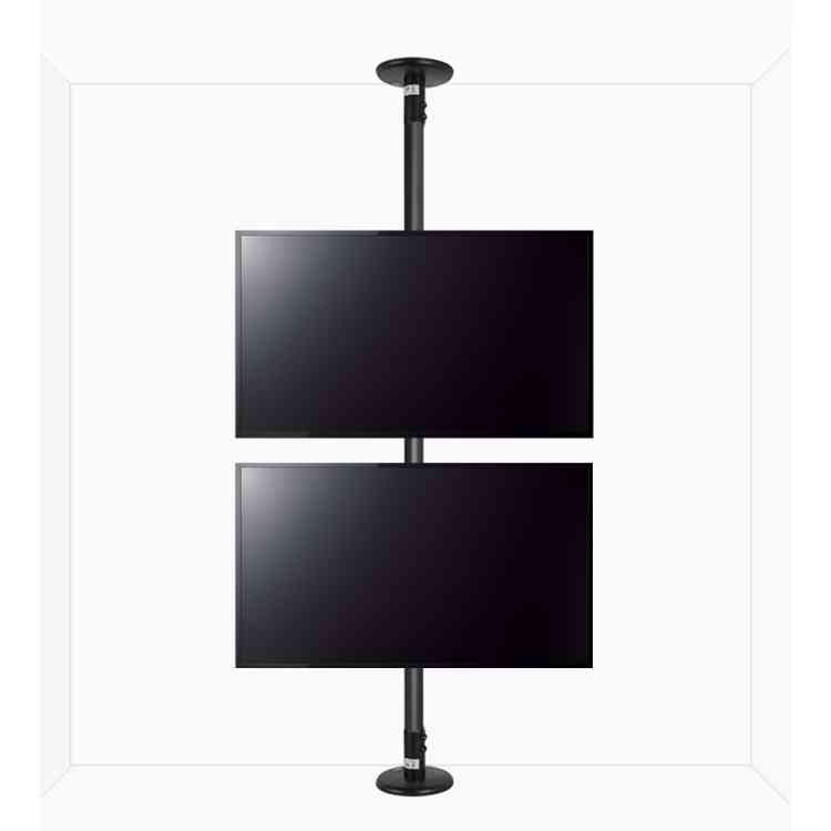 """B-Tech Floor To Ceiling Mount For Up To 2x55\"""" Screens - 4m Pole - Black"""