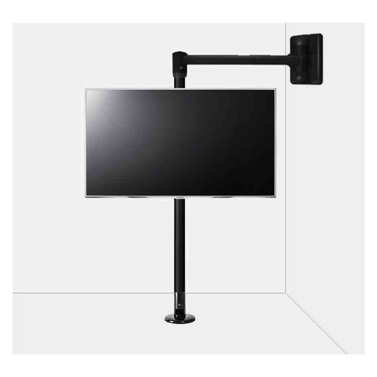 """B-Tech Floor to Wall Swivel Arm Mount for up to 80\"""" TVs - 3m Pole - Black"""