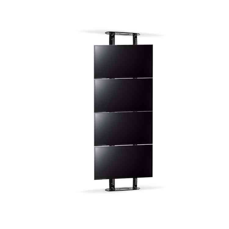 Btech Twin Pole Floor to Ceiling Mount for 4 Screens - Black