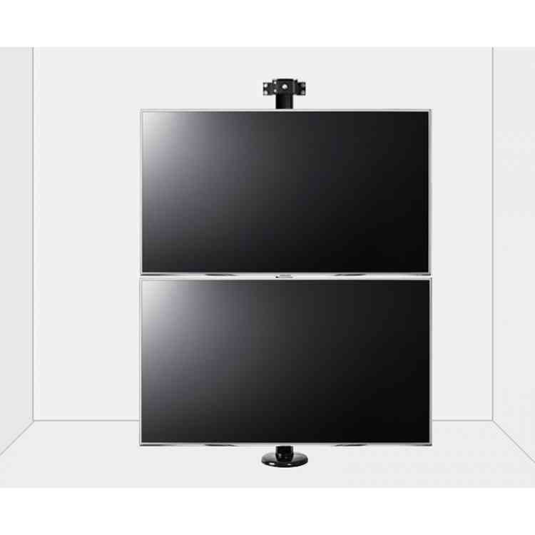 "B-Tech Floor to Wall Mount for up to 2 x 80"" TVs - 3m Pole - Black"