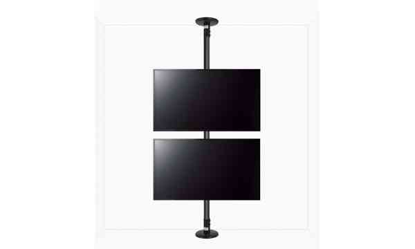 "B-Tech Floor To Ceiling Mount For Up To 2x47"" Screens - 4m Pole - Black"