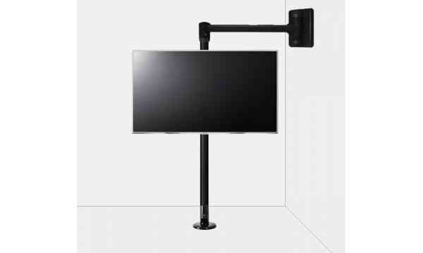 """B-Tech Floor to Wall Swivel Arm Mount for up to 80"""" TVs - 3m Pole - Black"""
