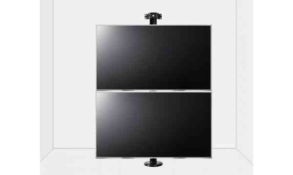 """B-Tech Floor to Wall Mount for up to 2 x 80"""" TVs - 3m Pole - Black"""