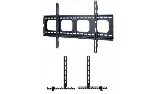 """UM105L Universal Super Thin Fixed Wall Bracket up to 90"""" TVs with Universal Soundbar Mount included - Black"""