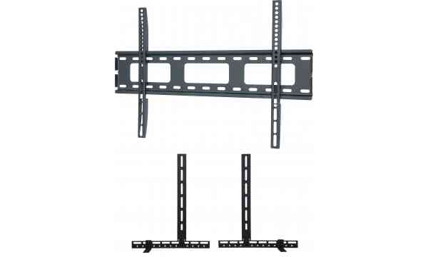 """UM105M Universal Super Thin Fixed Wall Bracket up to 70"""" TVs with Universal Soundbar Mount included - Black"""