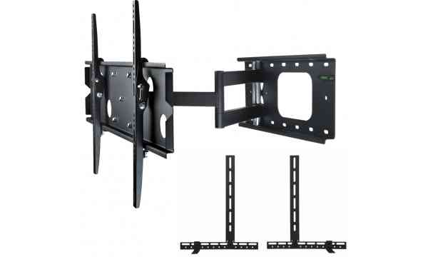 "Ultimate Mounts UM126M Heavy Duty Swing Arm TV Wall Bracket for 42""- 80"" TVs with Universal Soundbar Mount included - Black"