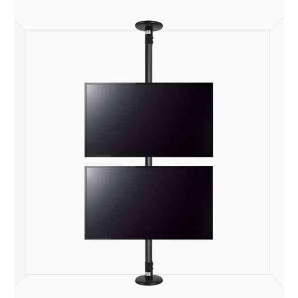 """B-Tech Floor To Ceiling Mount For Up To 2x55"""" Screens - 4m Pole - Black"""