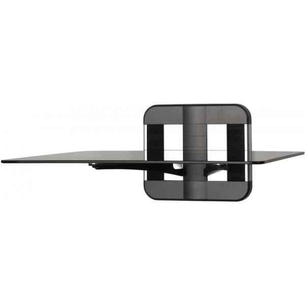 AVF Unimax TV & AV Accessory Single Shelf - Polished Aluminium and Black Trim