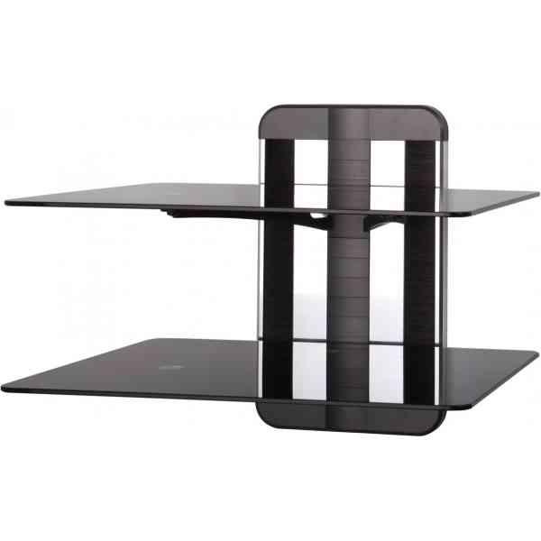 AVF Unimax TV & AV Accessory Double Shelf - Polished Aluminium and Black Trim