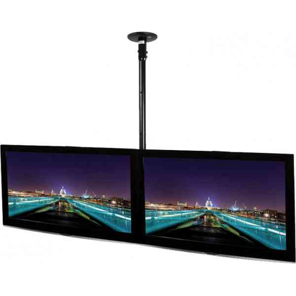 """B-Tech Ceiling Mounted 1m Tilting Side by Side System for up to 55"""" TVs"""